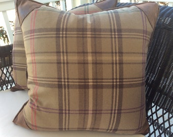 "Ralph Lauren ""Wightwick"" Pillow Cover in Multi-color Plaid Cashmere, Faux Leather Corners and Backing"