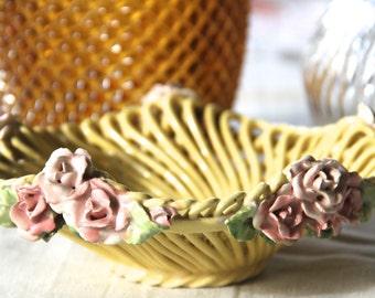 Capodimonte Porcelain~ Italian Vintage Basketweave w/ Roses~ Bowl/Basket