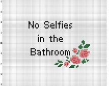 No Selfies in the Bathroom - the original and mirror image 2 Cross Stitch Patterns - Instant Download