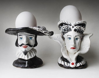 Black and white noble man and woman hand sculpted ceramic Egg Cups Set, Pottery hand painted Egg Cup, figurine Candle Holders, ring holders