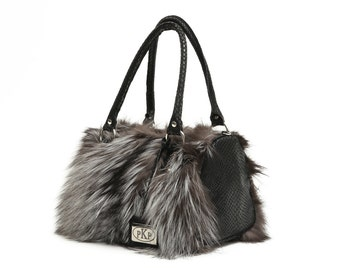 Real Fox Fur and Real Leather Handbag in Gray