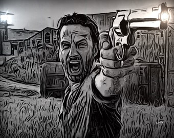 Rick Grimes, Andrew Lincoln inspired by the walking dead, the sheriff, zombie art, sheriff, Colt pyrhon, walking dead