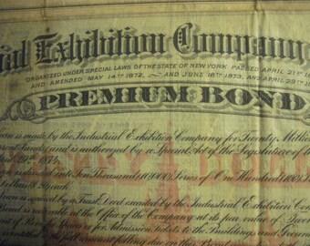 1874 The Industrial Exhibition Company of New York - Premium Bond