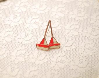 Copper Earrings Ships.