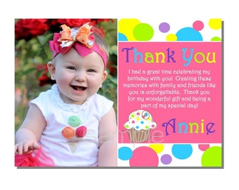 Cupcake Thank You Birthday Party - DIGITAL or PRINTED