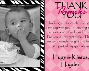 Zebra Thank You Card Birthday Party - DIGITAL or PRINTED