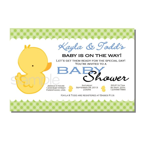 rubber ducky baby shower invitation blue and green digital or printed