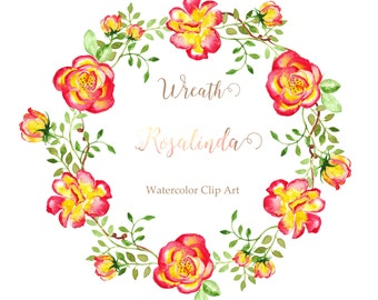 Rose Digital Watercolor clip art hand drawn. Wreath Rosalinda. Romantic wedding, bright, red and yellow flowers, invitations, watercolour