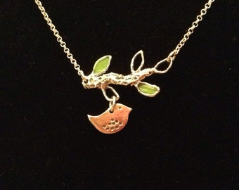 Baby Bird and Branch Necklace