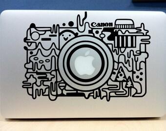 "Retro/abstract Canon camera apple sticker (BLACK) high quality vinyl - Macbook Pro Air 13"" 15"" 17"""