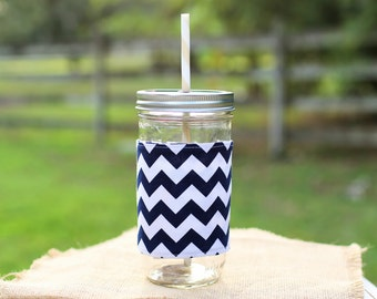Navy Chevron Custom Mason Jar Tumbler, Chevron Monogram, Personalized Tumbler, Mason Jar Chevron