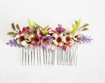 Flower Comb, Waxflower, small, pink, purple, lavender, leaves, hairpiece,woodland, spring, handcrafted, photoshoot.