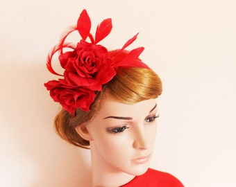 Red Roses with Feathers Fascinator / flower, headpiece, racing, handcrafted, wedding, photoshoot