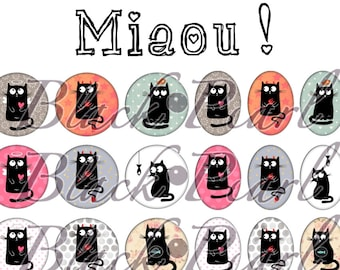 Meow! -Digital images for cabochons - 60 pictures to print page