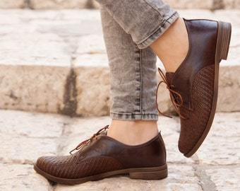 Brown Leather Shoes, Woven Oxford Shoes, Close Shoes, Flat Shoes, Brown Shoes , Free Shipping