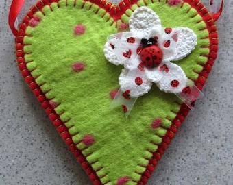 Sachet Wool Felt Pocket Polka Dot Ladybug Heart