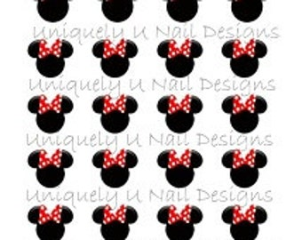 Minnie Mouse with red Bow Nail Decals