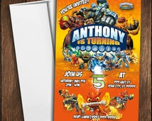Skylanders Giants Skylanders Swap Force Birthday Invitation Photo Digital Personalized - Set of 10 Printed Invitations - Envelopes Included