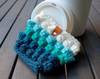 Coffee Cup Cozy / Coffee Cup Sleeve / Coffee Cozy / Tea Cup Sleeve - Teal Ombré