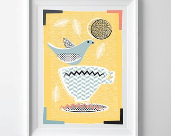 Modern Kitchen Art Print, Mid Century Inspired Print, Lovebirds & Teacups