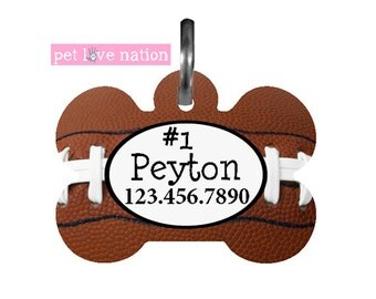 Personalized Pet Tag, Dog Tag, ID Tag, Football Pet Tag With Name And Phone Number, Identification Tag