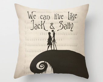 The Nightmare Before Christmas Throw Pillow Jack and Sally
