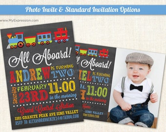 Chalkboard Choo Choo Train Birthday Invitations - Boy First Birthday Invitations - Digital or Printed
