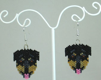 Beaded Rottweiler Earrings