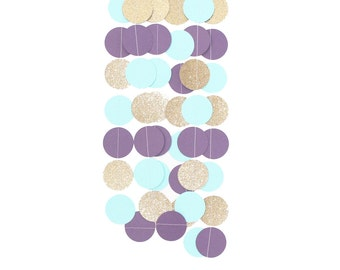 Purple Turquoise Teal Gold Glitter Garland, Circle Paper, Baby Shower Decor, Nursery Decor, Birthday Party Garland, Wedding Bridal Shower