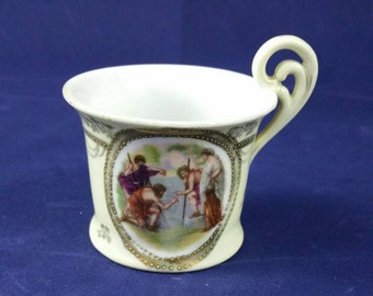 Antique Continental Demi Tasse Cup Gilded With Religious Scene
