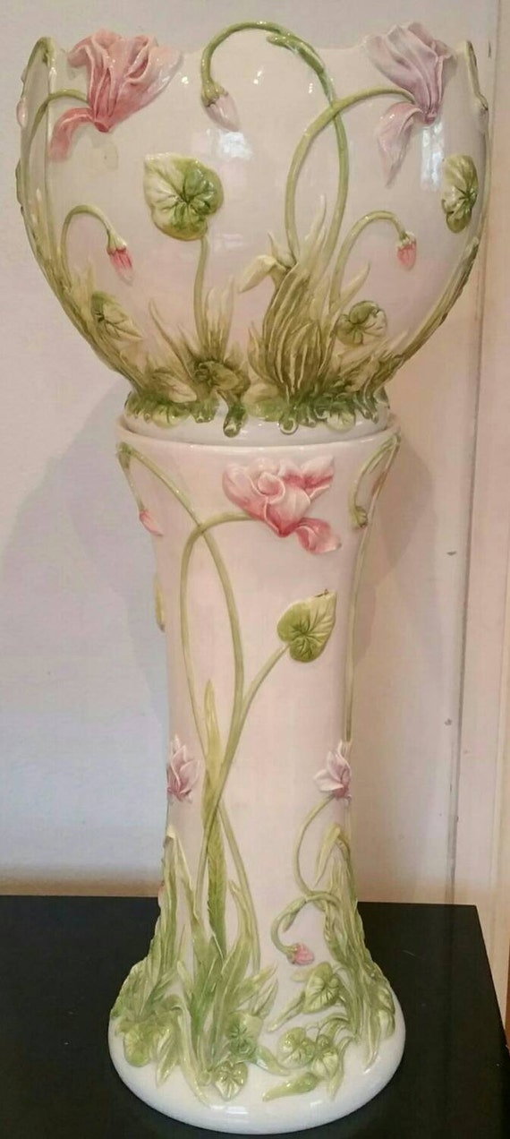 Vintage Majolica Style Hand Painted Glazed Jardiniere Stand