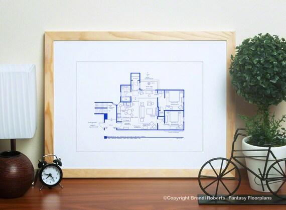 Friends apartments poster art tv floor plans set of 4 for The little house shop