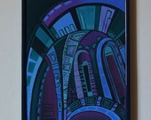 NEON - Original painting from the cycle ARCHES, architectural painting