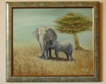 SAVANNA - Original painting oil on canvas, framed / Elephant painting / Elephants Oil on Canvas