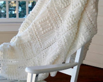 Popcorn Stitch Crocheted Afghan Blanket In Off White Great Wedding Or Bridal Shower Gift