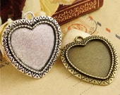 Wholesale 30pcs Antique Silver/Antique Bronze Filigree Heart Base Setting Pendant Trays-25mm Bezel Cabochon Settings-Pendant Tray Blanks