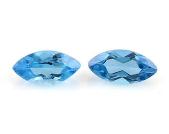 Blue Topaz Marquise Cut Loose Gemstones Set of 2 1A Quality 10x5mm TGW 2.25 cts.