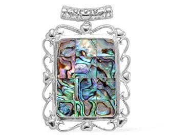 Abalone Shell Rectangle Pendant Silver-tone Without Chain