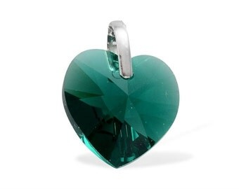 Emerald Green Made With SWAROVSKI Crystal Heart Pendant in Sterling Silver Nickel Free Without Chain TGW 13.70 cts.