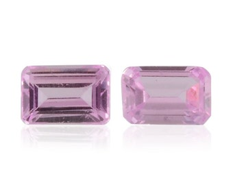 Pink Sapphire Synthetic Lab Created Loose Gemstones Set of 2 Octagon Cut 1A Quality 6x4mm TGW 1.20 cts.