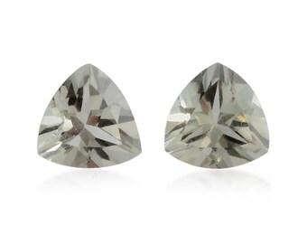 Green Amethyst Trillion Cut Loose Gemstones Set of 2 1A Quality 7mm TGW 2.00 cts.