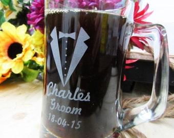 Set of 9, Personalized Beer Stein, Groomsman Wedding Gift, Custom Beer Mug, Best Man Gift, Groomsman Gifts - FREE ENGRAVING