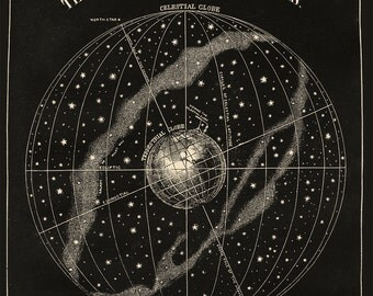 Celestial Globe with Stars and Constellations Vintage Astronomy Print, Victorian Astronomy, Globe and Stars, Science Art, Americana