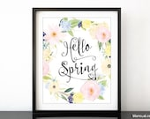 Hello Spring printable decor, floral printable spring decor, spring art print, floral wreath printable, floral spring, spring flowers -pp199