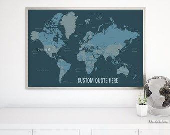 Custom Quote Printable World Map With Country Names Us States Names Canada Provinces