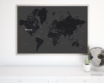 """36x24"""" Printable world map with countries and states labelled. Valentines gift for him, diy travel pinboad for him, black and white. 140-034"""