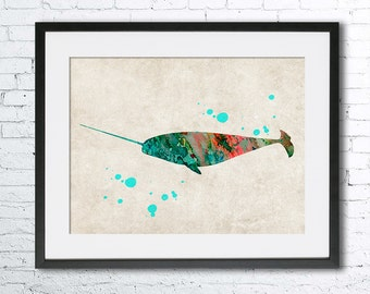 Narwhal watercolor print. Old paper watercolor, Narwhal poster, Vintage paper print, Narwhal art print, Homer decor, Old paper wall art