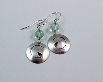 Fine silver earrings with hand-piercing and accented with fluorite gemstone