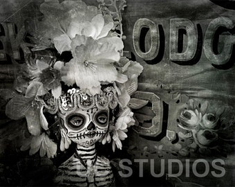 Dia De Los Muertos Circus Flower Doll Canon PRINT 599 Reproduction by Michael Brown