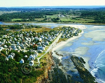 Higgins Beach Scarborough Maine Panoramic Photograpy     Aerial View of this gorgeous beach for surfers, beach goers and beach walkers alike
